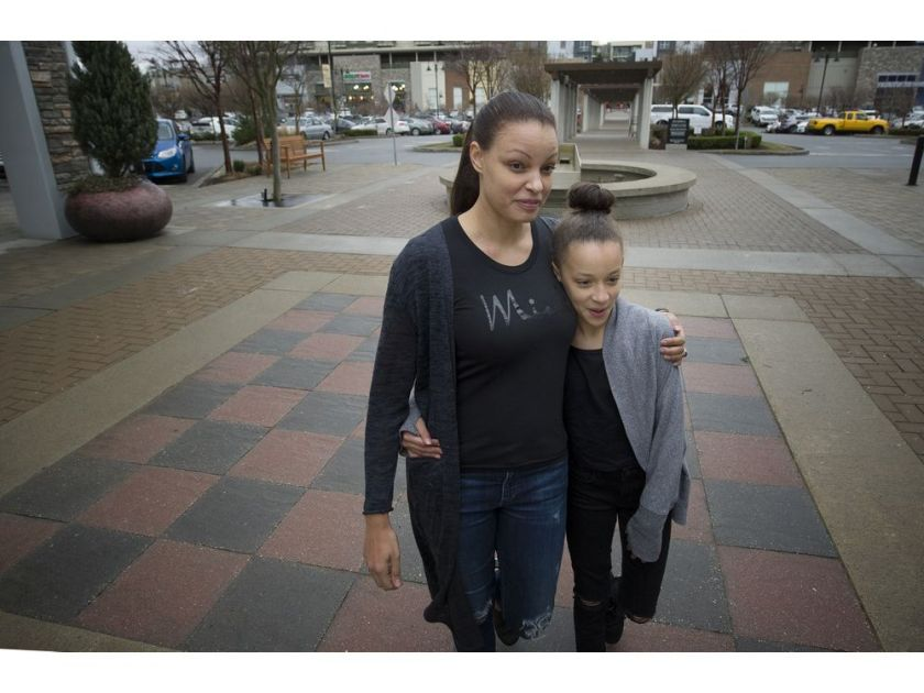 Faith Gibson with her daughter Meah, 11.